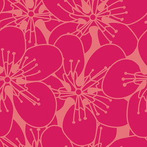 Pink Flowers On Coral Seamless Pattern