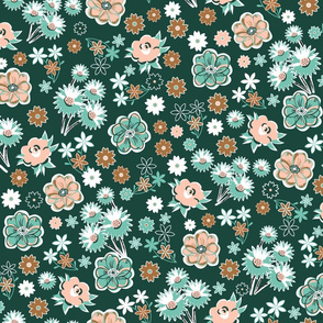 Pink and Mint Floral on Forest