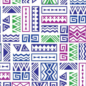 Polynesia Geometric Tapa (Purple, Green, and Magenta)