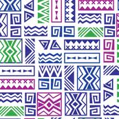 Polynesia Geometric Tapa (Purple, Green, and Magenta)