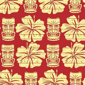 Tiki and Hibiscus (Red and Yellow)