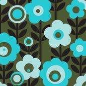Marguerite* (Television Blue) || vintage sheet mod 70s 60s flower floral leaves stem garden spring summer olive green aqua turquoise pastel avocado