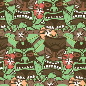 Tiki Tropics (Brown and Green)