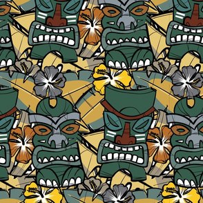 Tiki Tropics (Green and Mustard)