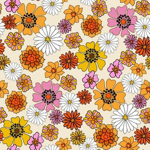seventies floral fabric, 70s floral fabric, 70s daisies, pink, yellow, mustard florals fabric - cream