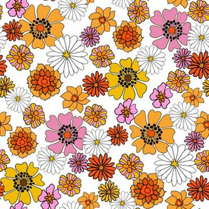seventies floral fabric, 70s floral fabric, 70s daisies, pink, yellow, mustard florals fabric - white
