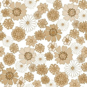 seventies floral fabric, 70s floral fabric, 70s daisies, pink, yellow, mustard florals fabric -  brown