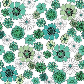 seventies floral fabric, 70s floral fabric, 70s daisies, green, blue, aqua florals fabric - white