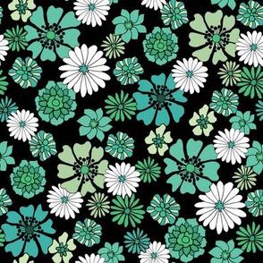 seventies floral fabric, 70s floral fabric, 70s daisies, green, blue, aqua florals fabric - black