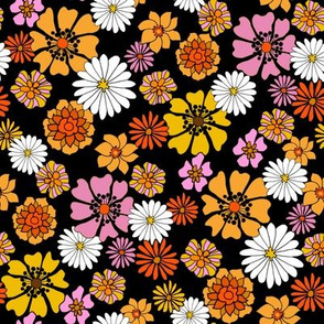 seventies floral fabric, 70s floral fabric, 70s daisies, pink, yellow, mustard florals fabric - black