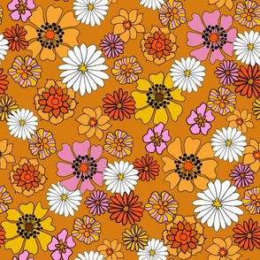 seventies floral fabric, 70s floral fabric, 70s daisies, pink, yellow, mustard florals fabric - burnt