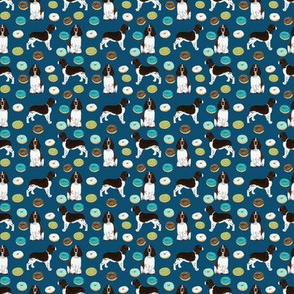 TINY - english springer spaniel donuts fabric navy donut design springer spaniel fabric dog fabrics