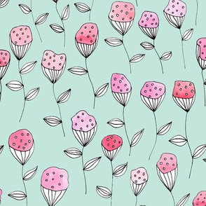 Floral design pink with turqouis background