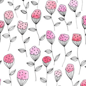 Flowers in pink with a white background