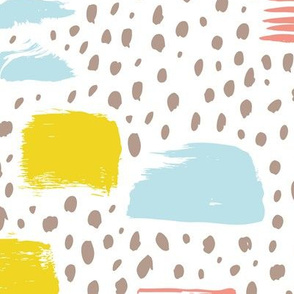 Strokes dots cross and spots raw abstract brush strokes memphis scandinavian style blue lime coral