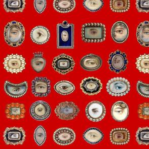 Victorian Inspired Lovers Eyes In Red   BadaBlingDesignsLtd
