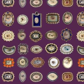 Victorian Inspired Lovers Eye In Purple  BadaBlingDesignsLtd