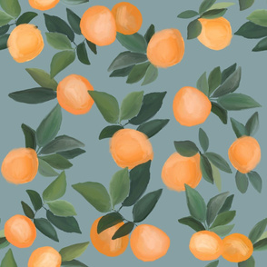 orange grove scattered on gray blue - LARGE