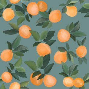 oranges scattered on dark teal