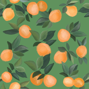 oranges scattered on tropical green