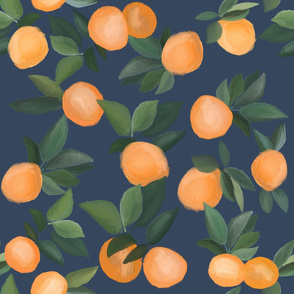 oranges scattered on navy