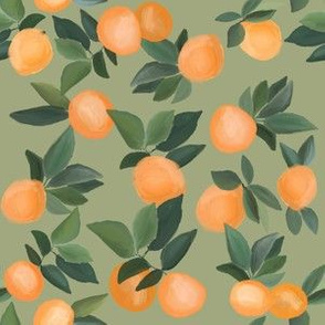 oranges scattered on taupe