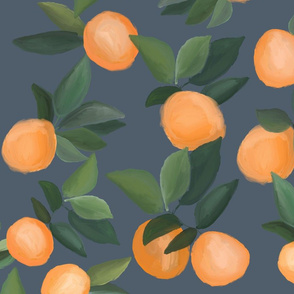 oranges scattered on blue gray
