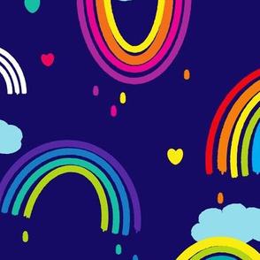 Painted Rainbows - Larger Print - Blue