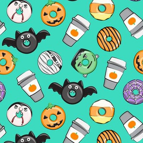Halloween coffee and donuts - teal  - bats, pumpkins, spider web, vampire - LAD19