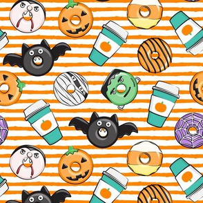 Halloween coffee and donuts - teal with orange stripes  - bats, pumpkins, spider web, vampire - LAD19