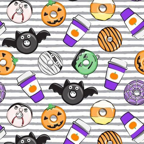 Halloween coffee and donuts - purple with grey stripes  - bats, pumpkins, spider web, vampire - LAD19