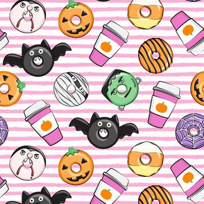 Halloween coffee and donuts - pink with pink stripes  - bats, pumpkins, spider web, vampire - LAD19
