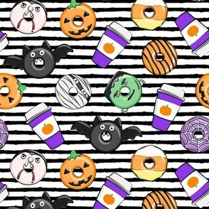 Halloween coffee and donuts - purple with black stripes  - bats, pumpkins, spider web, vampire - LAD19
