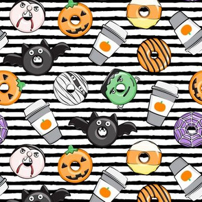 Halloween coffee and donuts - grey with black stripes  - bats, pumpkins, spider web, vampire - LAD19