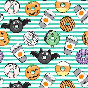Halloween coffee and donuts - teal stripes  - bats, pumpkins, spider web, vampire - LAD19