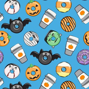 Halloween coffee and donuts - blue - bats, pumpkins, spider web, vampire - LAD19