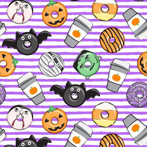 Halloween coffee and donuts - purple stripes  - bats, pumpkins, spider web, vampire - LAD19