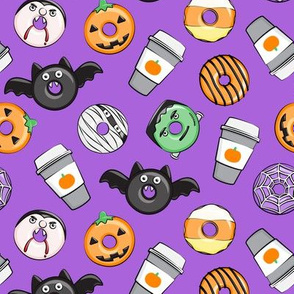 Halloween coffee and donuts - purple  - bats, pumpkins, spider web, vampire - LAD19