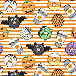 Halloween coffee and donuts - orange stripes  - bats, pumpkins, spider web, vampire - LAD19