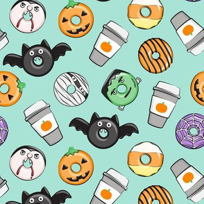 Halloween coffee and donuts - mint  - bats, pumpkins, spider web, vampire - LAD19