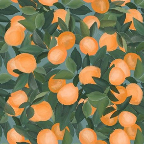 orange grove on teal