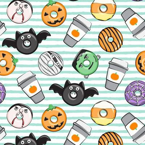 Halloween coffee and donuts - mint stripes  - bats, pumpkins, spider web, vampire - LAD19
