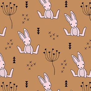 Adorable baby hare bunny geometric scandinavian style rabbit for kids gender neutral pink brown sugar autumn collection