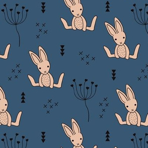 Adorable baby hare bunny geometric scandinavian style rabbit for kids gender neutral blue night beige winter collection