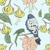 Bird blue green flower