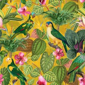 "10"" Pierre-Joseph Redouté tropicals Lush tropical vintage parrot Jungle blossoms summer paradise in yellow"