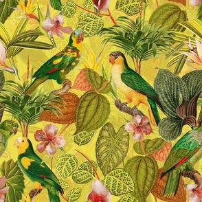 """10"""" Pierre-Joseph Redouté tropicals Lush tropical vintage parrot Jungle blossoms summer paradise in sun yellow"""