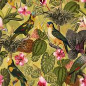 "10"" Pierre-Joseph Redouté tropicals Lush tropical vintage parrot Jungle blossoms summer paradise in sepia yellow"