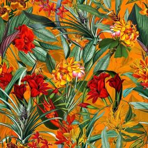 "10"" Vintage Tropical Palm Jungle, Palm fabric,vintage hawaiian fabric double on sunny yellow"