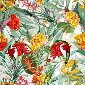 "10"" Vintage Tropical Palm Jungle, Palm fabric,vintage hawaiian fabric double on white"